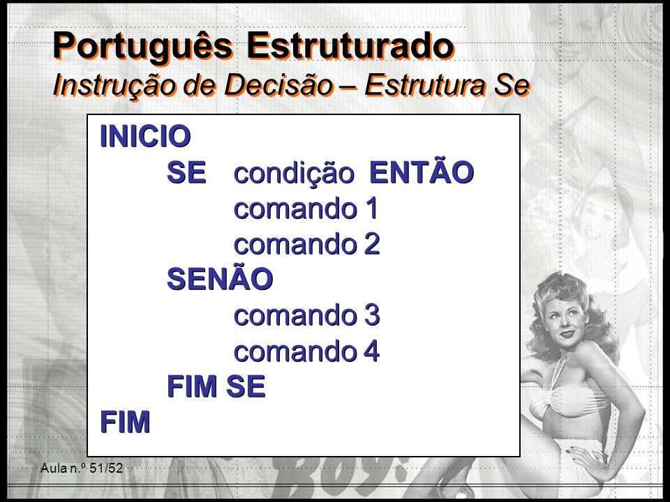 Português Estruturado Instrução de Decisão – Estrutura Se