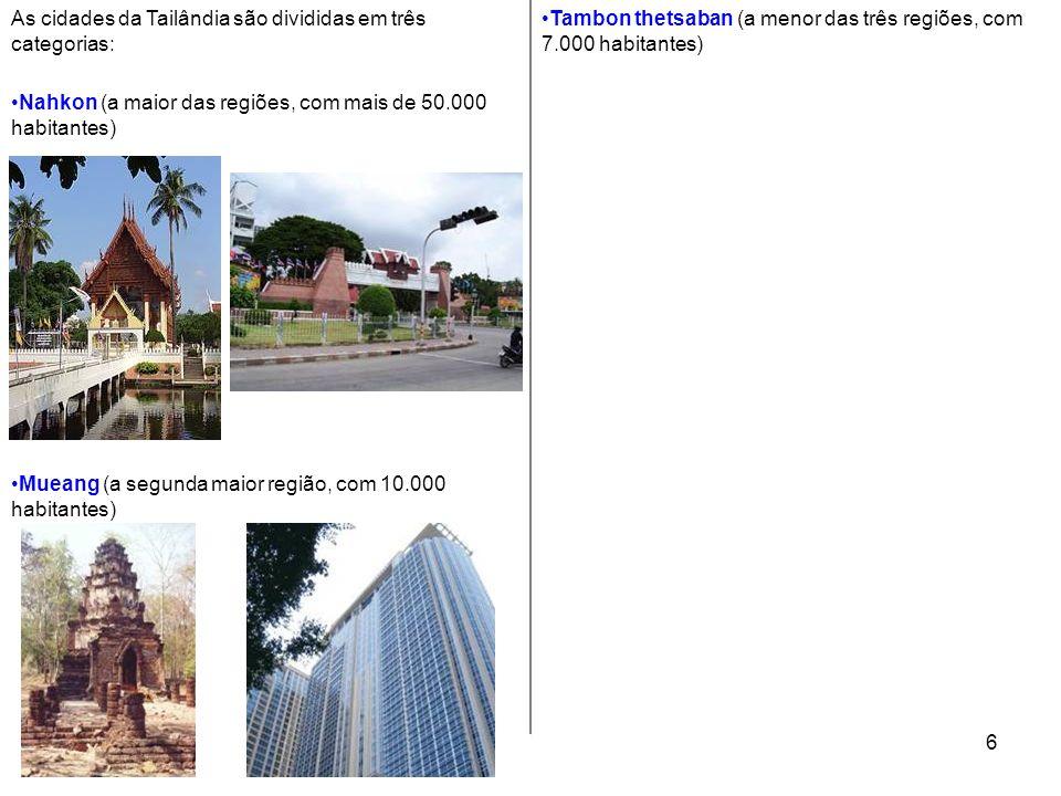 As cidades da Tailândia são divididas em três categorias: