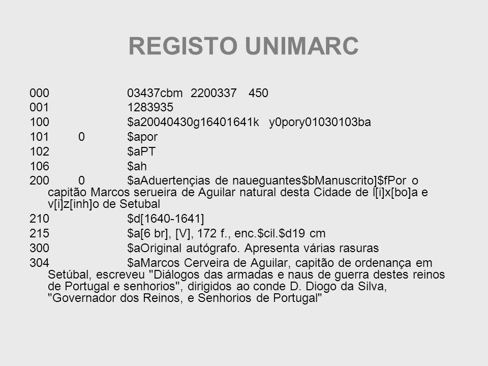 REGISTO UNIMARC 000 03437cbm 2200337 450. 001 1283935. 100 $a20040430g16401641k y0pory01030103ba.