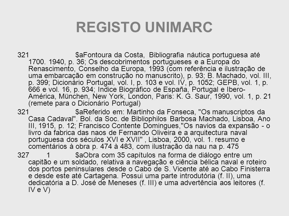 REGISTO UNIMARC