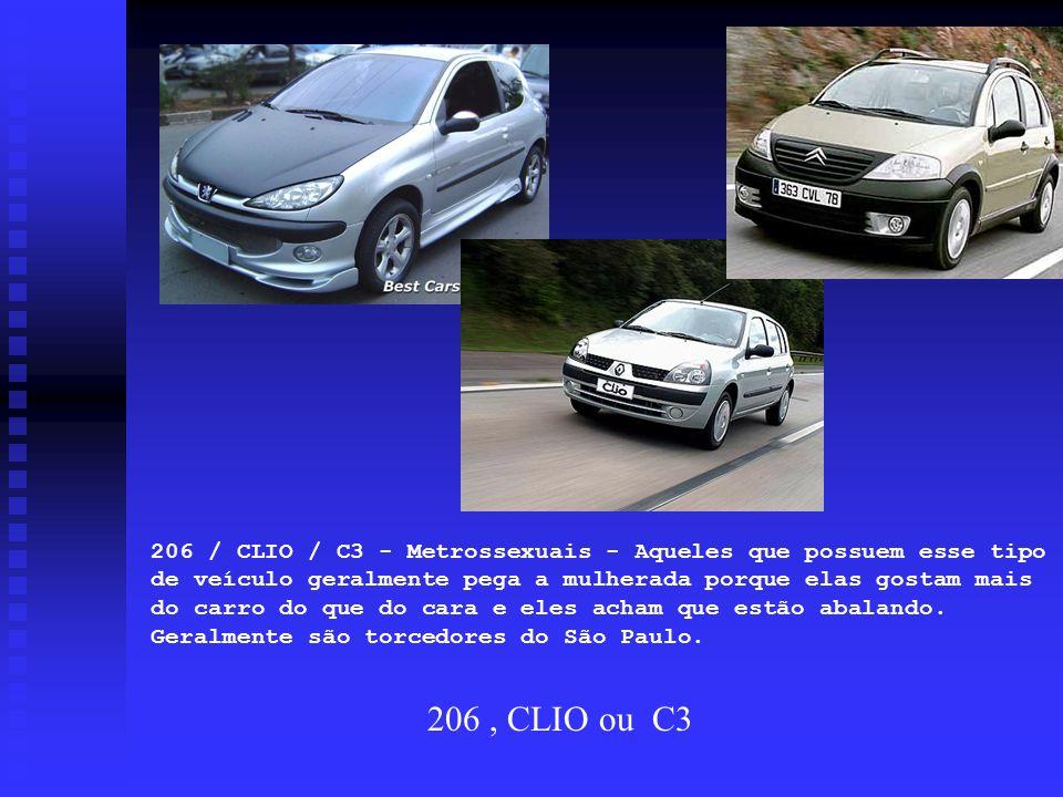 206 / CLIO / C3 - Metrossexuais - Aqueles que possuem esse tipo de veículo geralmente pega a mulherada porque elas gostam mais do carro do que do cara e eles acham que estão abalando. Geralmente são torcedores do São Paulo.