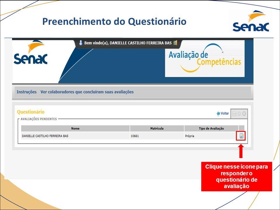 Clique nesse ícone para responder o questionário de avaliação