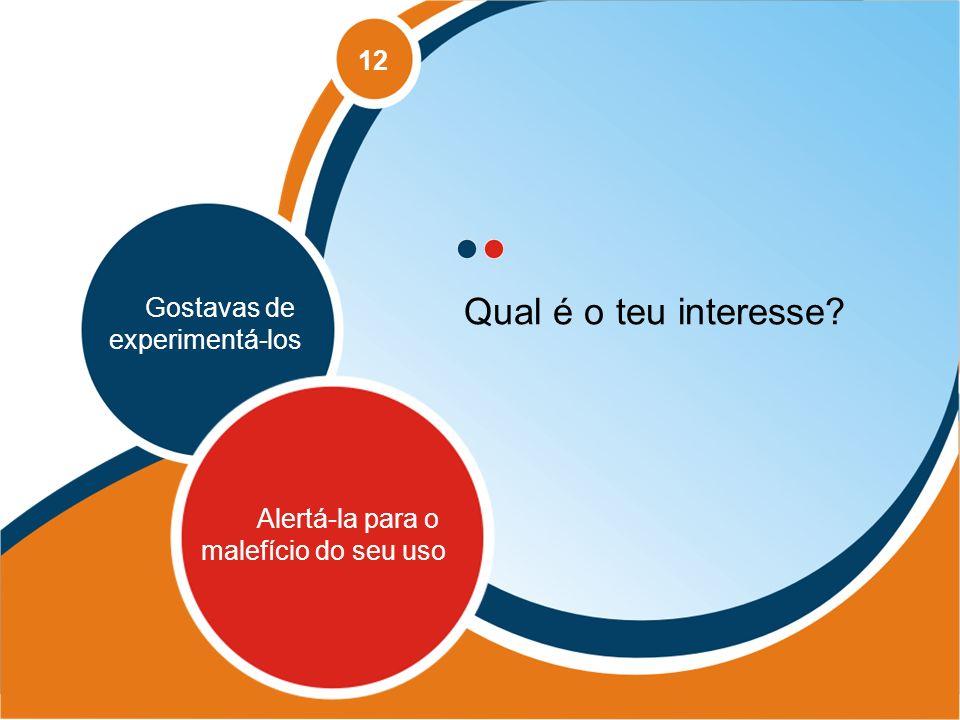 Qual é o teu interesse 12 Gostavas de experimentá-los