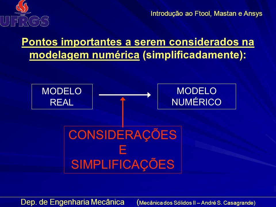 CONSIDERAÇÕES E SIMPLIFICAÇÕES