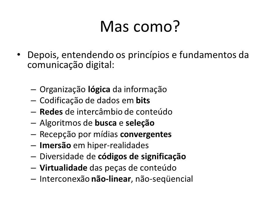 Mas como Depois, entendendo os princípios e fundamentos da comunicação digital: Organização lógica da informação.