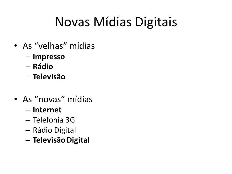 Novas Mídias Digitais As velhas mídias As novas mídias Impresso