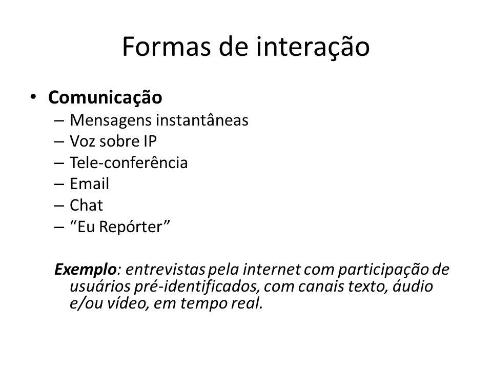 Formas de interação Comunicação Mensagens instantâneas Voz sobre IP