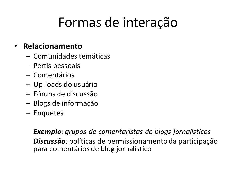 Formas de interação Relacionamento Comunidades temáticas