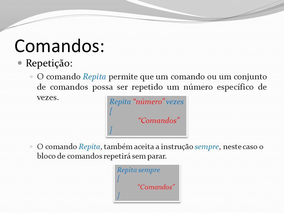 Comandos: Repetição: O comando Repita permite que um comando ou um conjunto de comandos possa ser repetido um número específico de vezes.