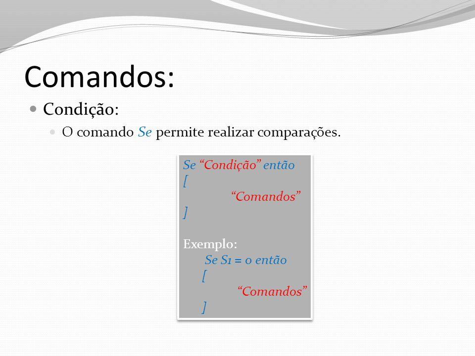 Comandos: Condição: O comando Se permite realizar comparações.