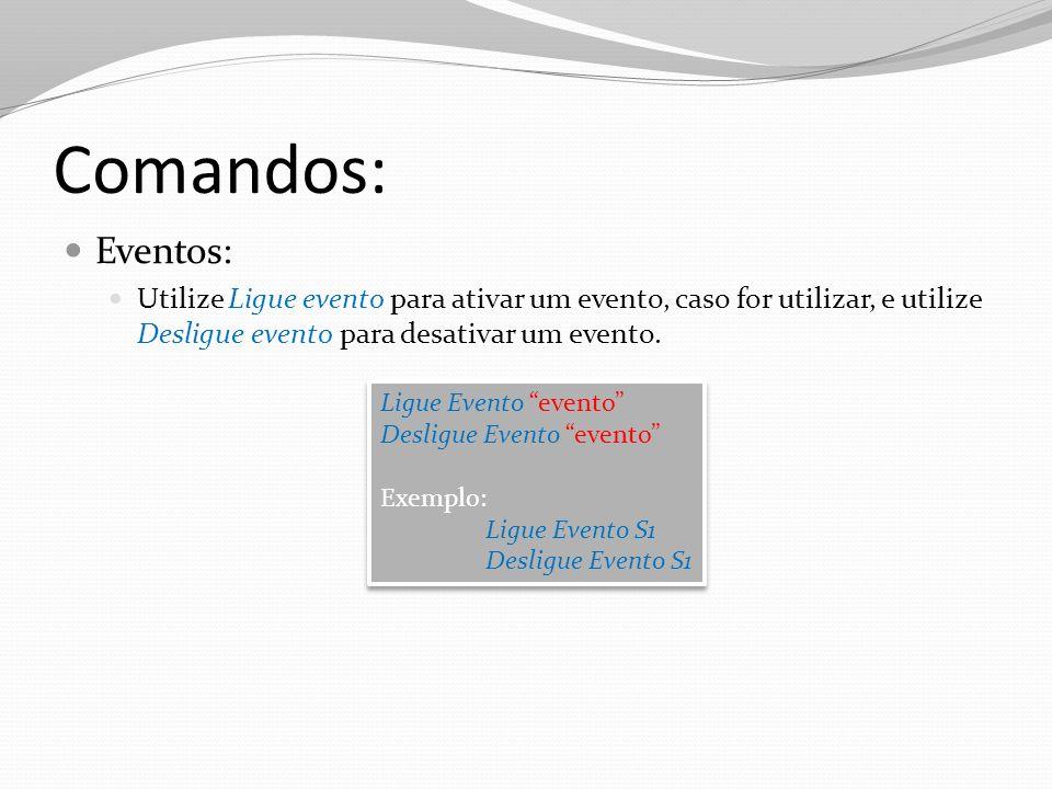 Comandos: Eventos: Utilize Ligue evento para ativar um evento, caso for utilizar, e utilize Desligue evento para desativar um evento.