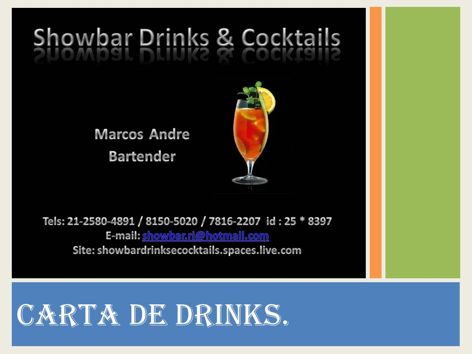 CARTA DE DRINKS.