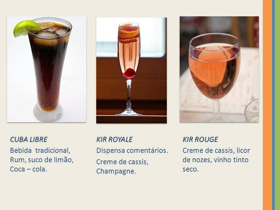 CUBA LIBRE Bebida tradicional, Rum, suco de limão, Coca – cola. KIR ROYALE. Dispensa comentários.