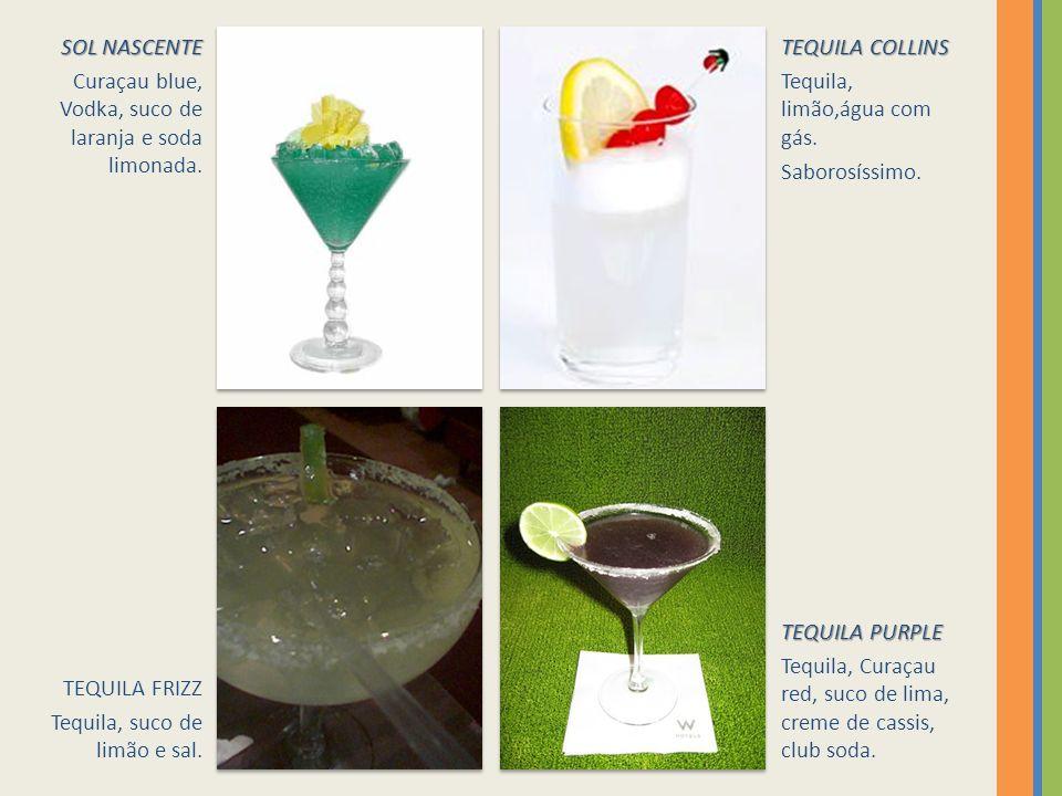 SOL NASCENTE Curaçau blue, Vodka, suco de laranja e soda limonada. TEQUILA COLLINS. Tequila, limão,água com gás.