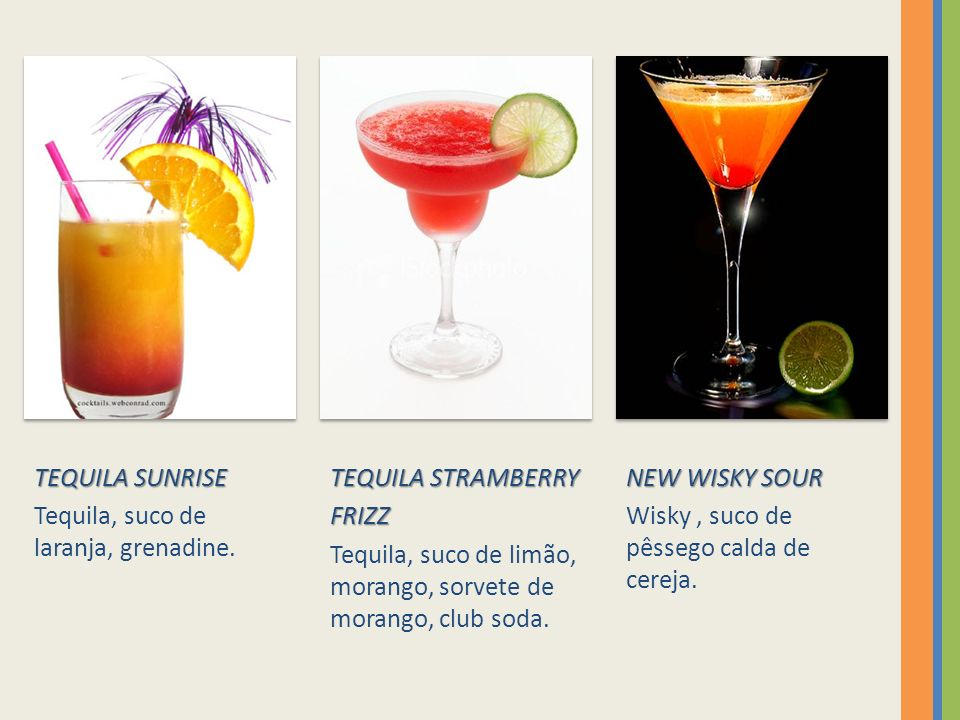 TEQUILA SUNRISE Tequila, suco de laranja, grenadine. TEQUILA STRAMBERRY. FRIZZ. Tequila, suco de limão, morango, sorvete de morango, club soda.