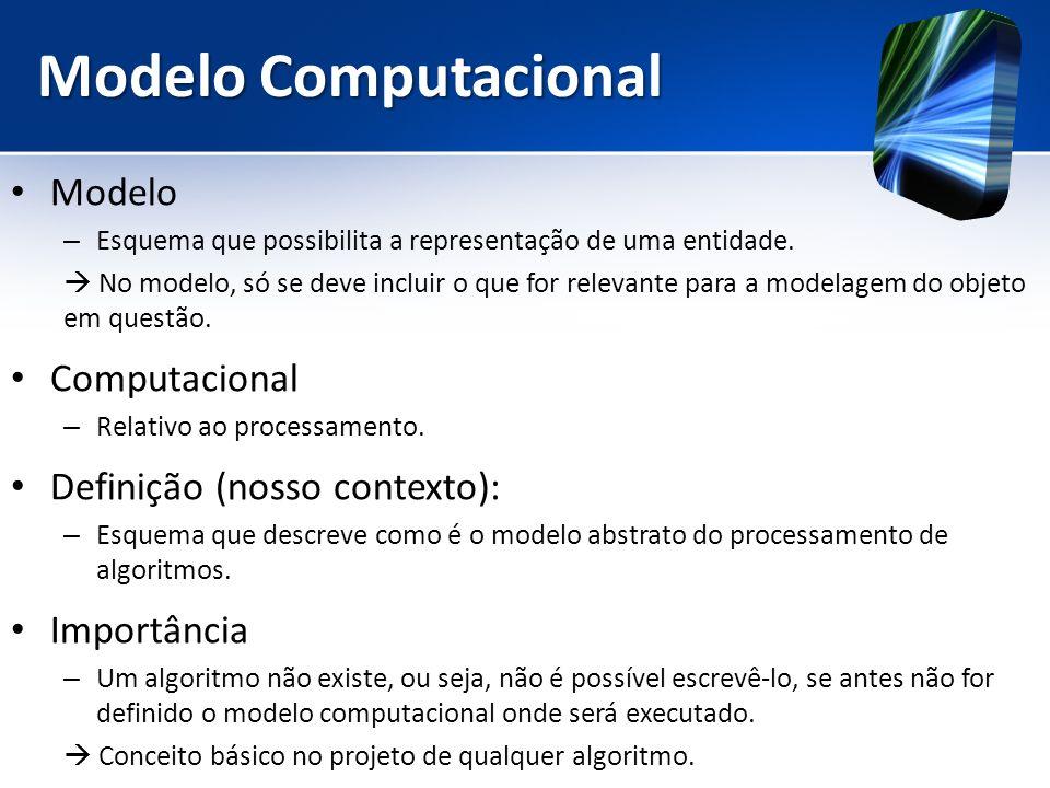 Modelo Computacional Modelo Computacional Definição (nosso contexto):