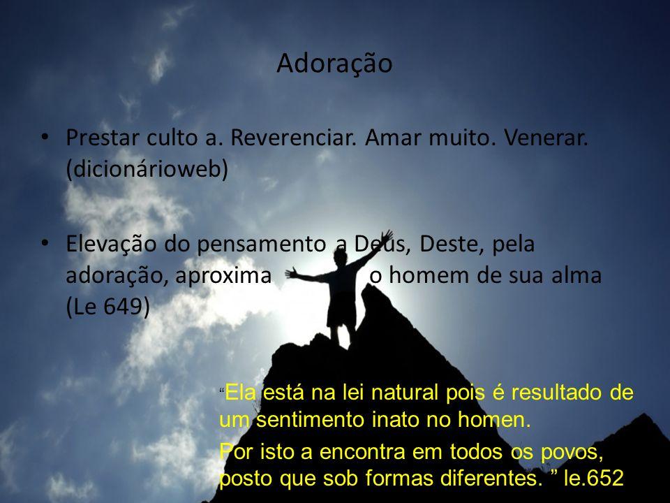 Adoração Prestar culto a. Reverenciar. Amar muito. Venerar. (dicionárioweb)
