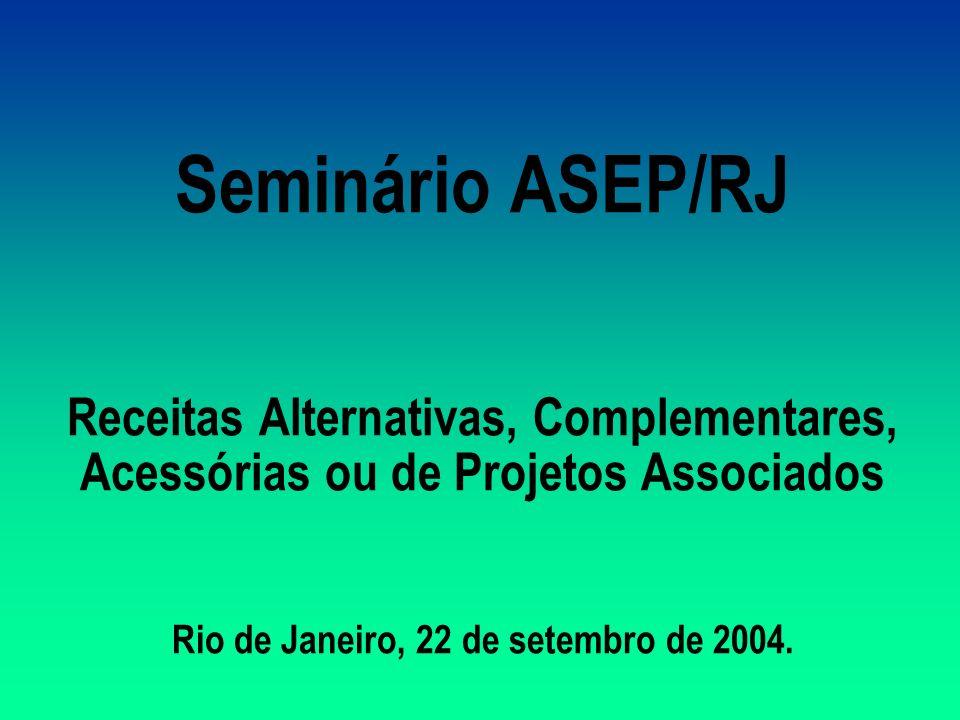 Seminário ASEP/RJ Receitas Alternativas, Complementares, Acessórias ou de Projetos Associados Rio de Janeiro, 22 de setembro de 2004.