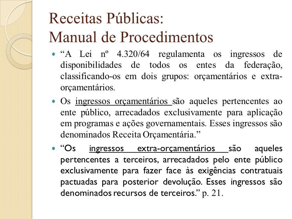Receitas Públicas: Manual de Procedimentos