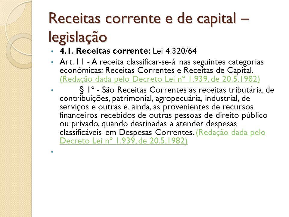 Receitas corrente e de capital – legislação
