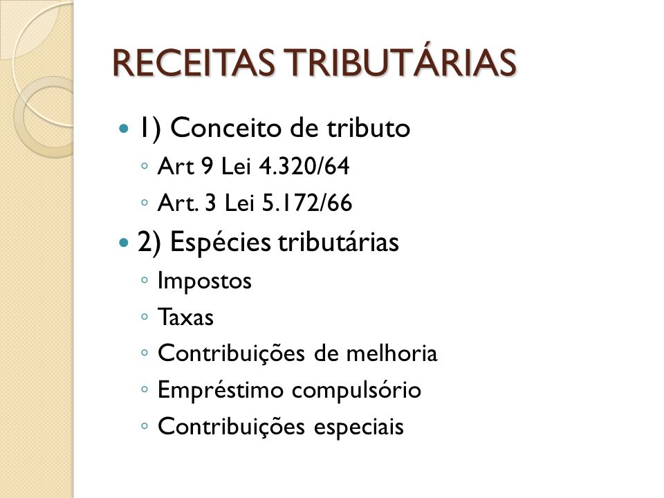 RECEITAS TRIBUTÁRIAS 1) Conceito de tributo 2) Espécies tributárias