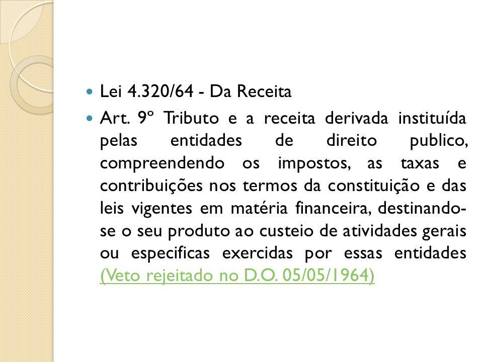 Lei 4.320/64 - Da Receita