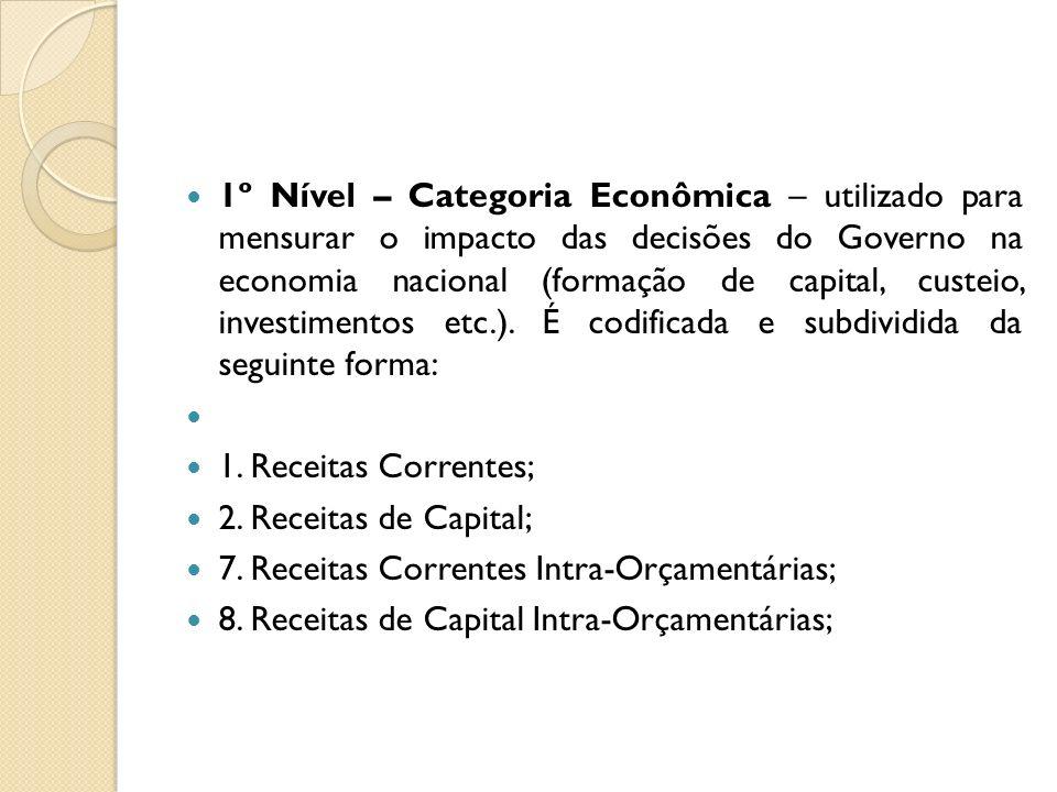 1º Nível – Categoria Econômica – utilizado para mensurar o impacto das decisões do Governo na economia nacional (formação de capital, custeio, investimentos etc.). É codificada e subdividida da seguinte forma:
