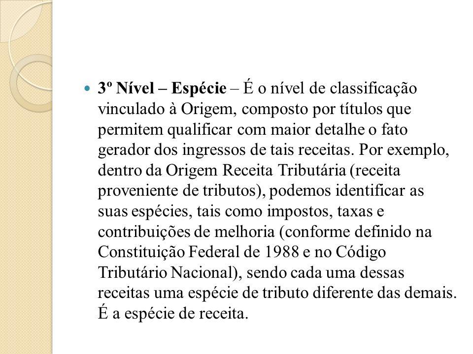 3º Nível – Espécie – É o nível de classificação vinculado à Origem, composto por títulos que permitem qualificar com maior detalhe o fato gerador dos ingressos de tais receitas.