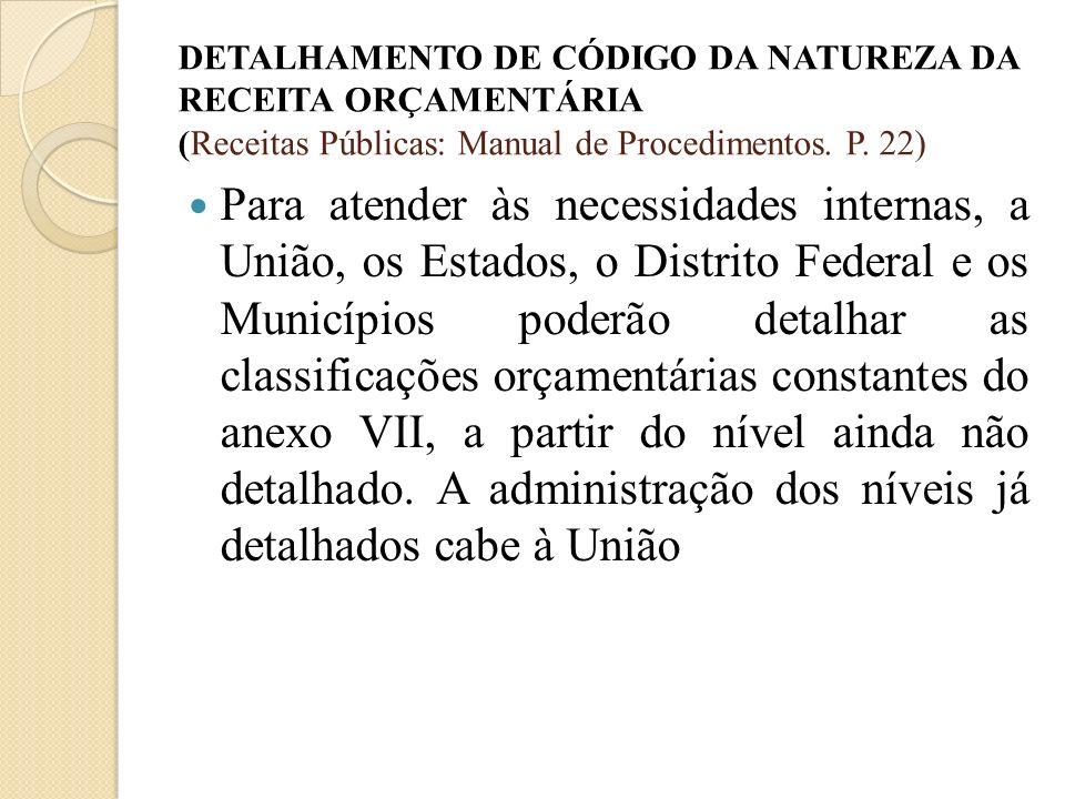 DETALHAMENTO DE CÓDIGO DA NATUREZA DA RECEITA ORÇAMENTÁRIA (Receitas Públicas: Manual de Procedimentos. P. 22)