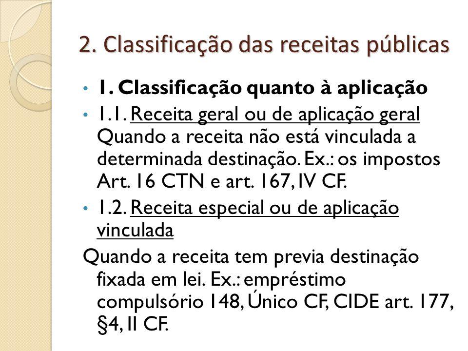 2. Classificação das receitas públicas