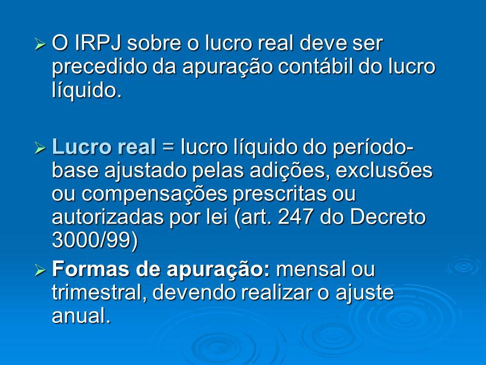 O IRPJ sobre o lucro real deve ser precedido da apuração contábil do lucro líquido.