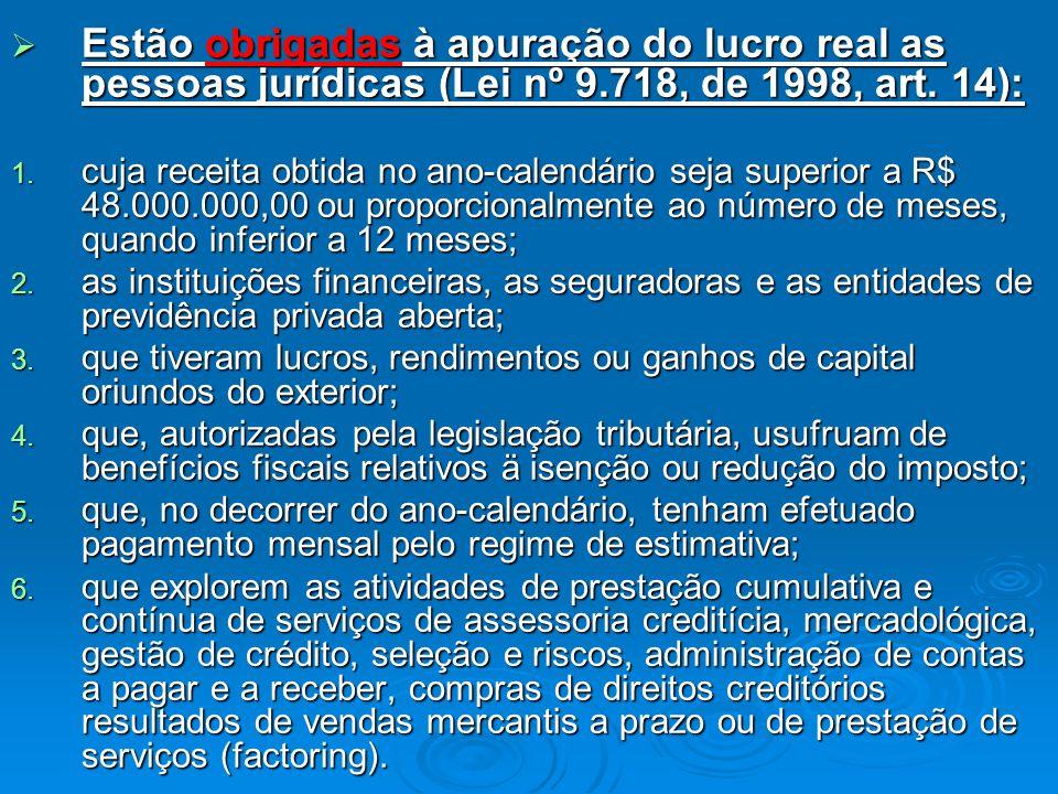 Estão obrigadas à apuração do lucro real as pessoas jurídicas (Lei nº 9.718, de 1998, art. 14):