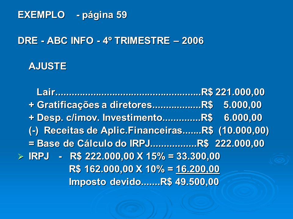 EXEMPLO - página 59 DRE - ABC INFO - 4º TRIMESTRE – 2006. AJUSTE. Lair......................................................R$ 221.000,00.
