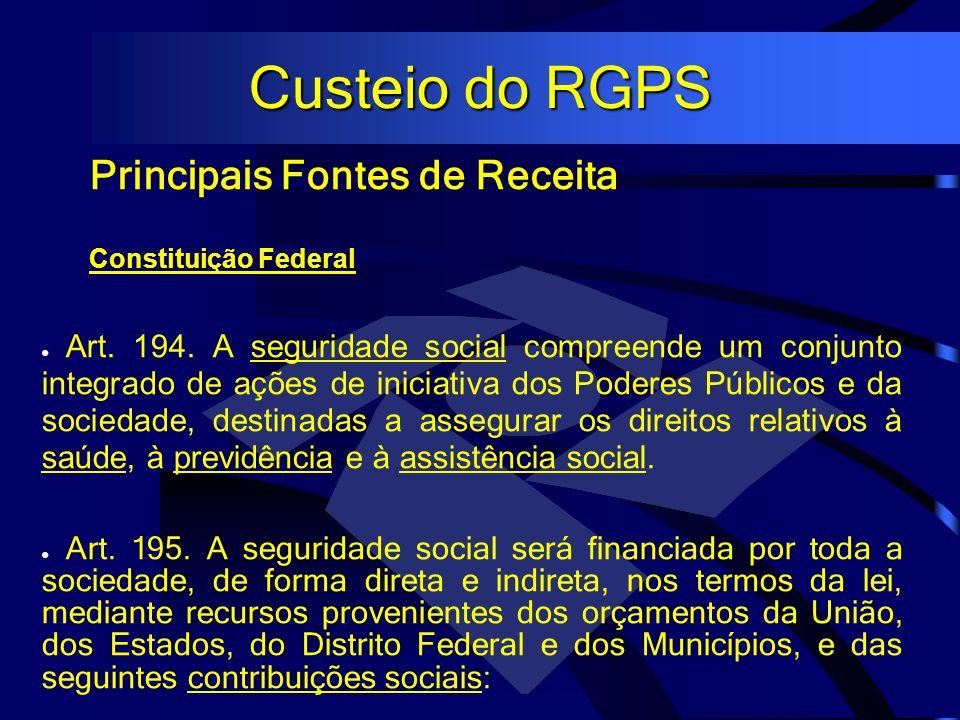 Custeio do RGPS Principais Fontes de Receita