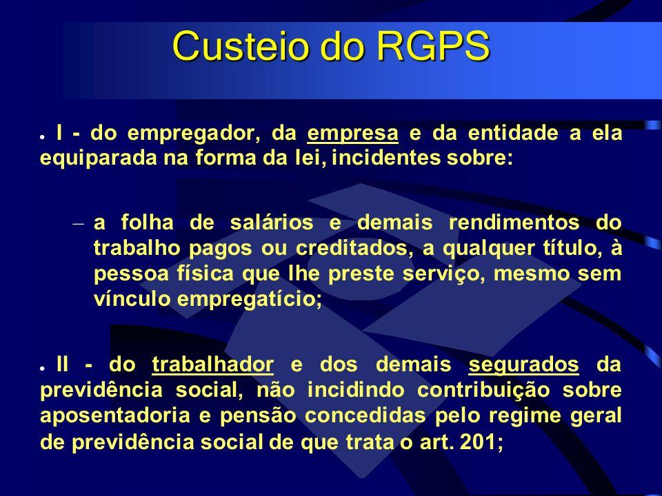 Custeio do RGPS I - do empregador, da empresa e da entidade a ela equiparada na forma da lei, incidentes sobre: