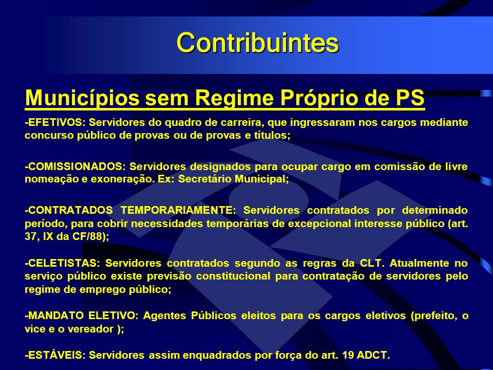 Contribuintes Municípios sem Regime Próprio de PS