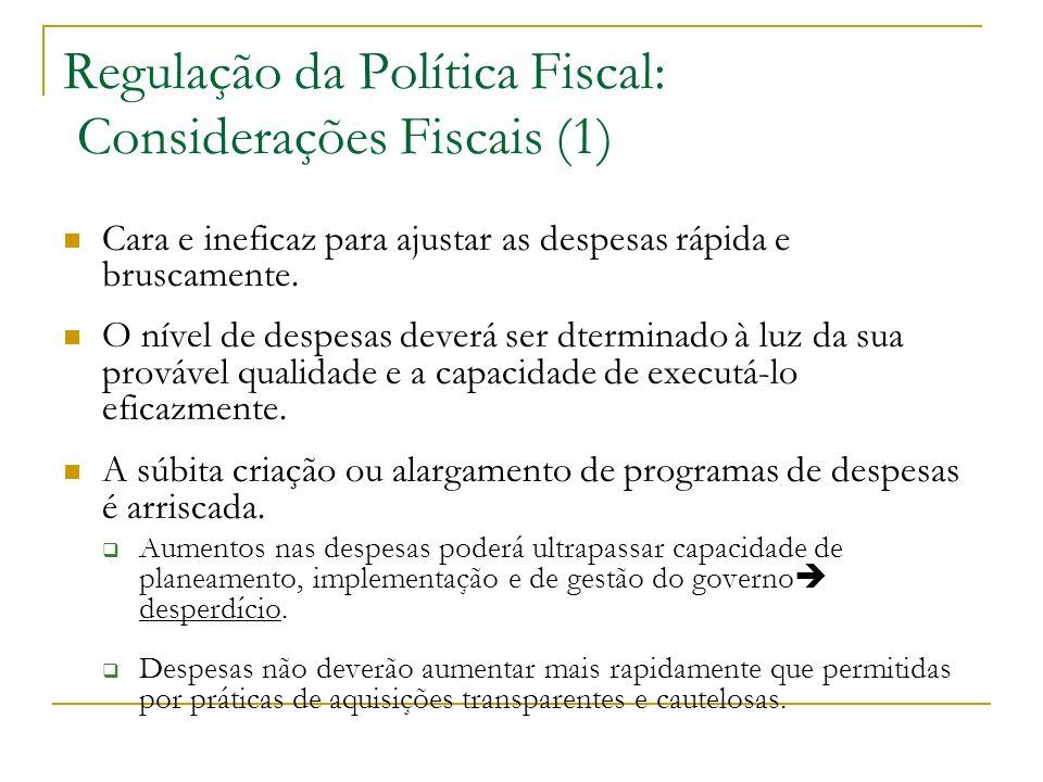 Regulação da Política Fiscal: Considerações Fiscais (1)