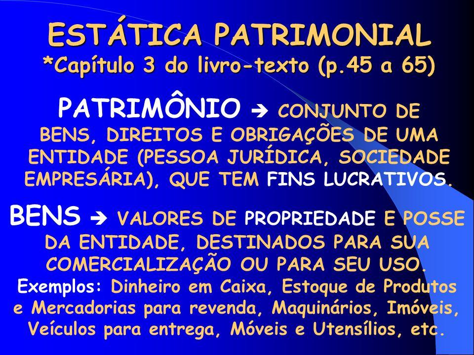 ESTÁTICA PATRIMONIAL *Capítulo 3 do livro-texto (p.45 a 65)
