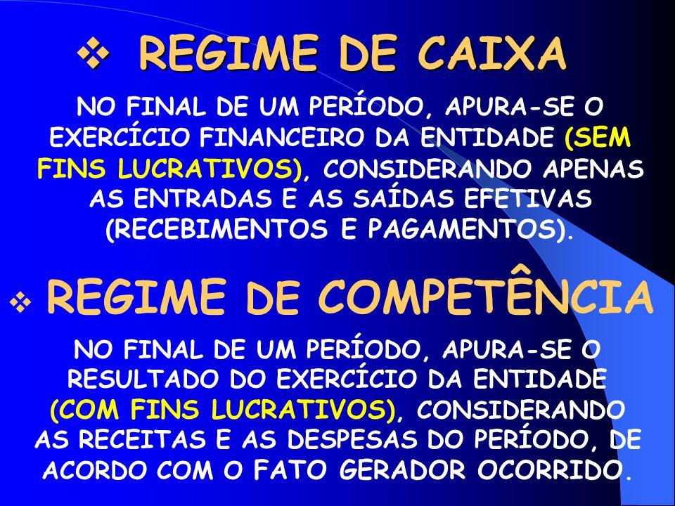 REGIME DE CAIXA REGIME DE COMPETÊNCIA