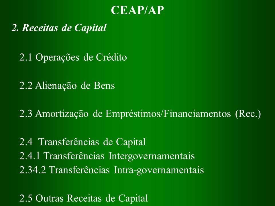 CEAP/AP 2. Receitas de Capital 2.1 Operações de Crédito