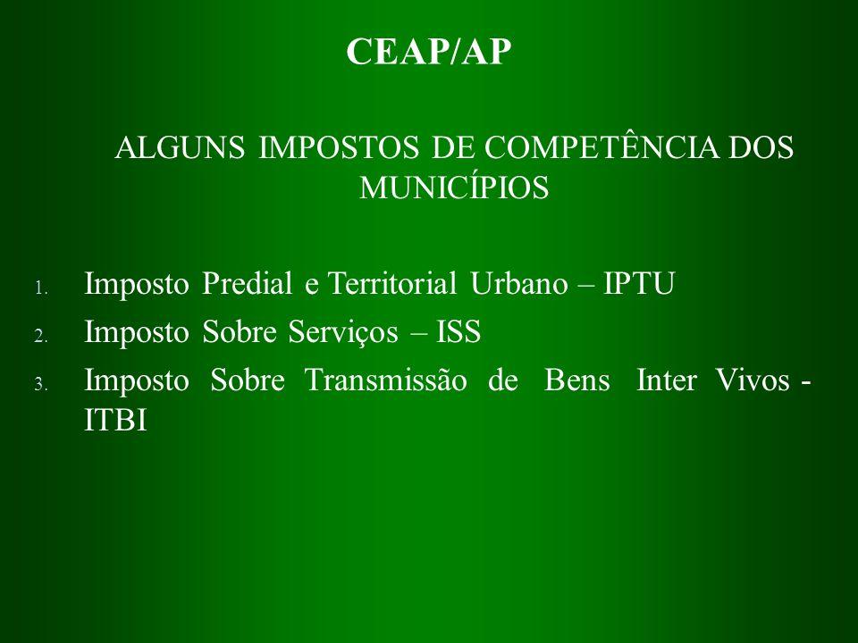 ALGUNS IMPOSTOS DE COMPETÊNCIA DOS MUNICÍPIOS