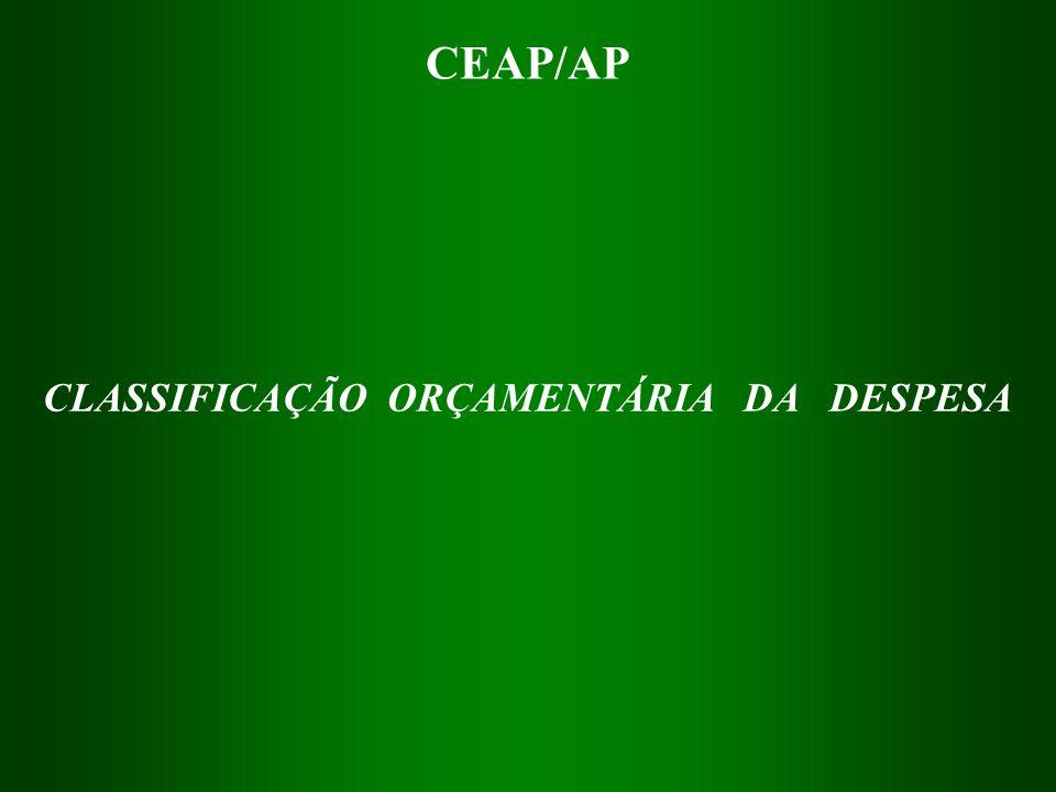 CLASSIFICAÇÃO ORÇAMENTÁRIA DA DESPESA