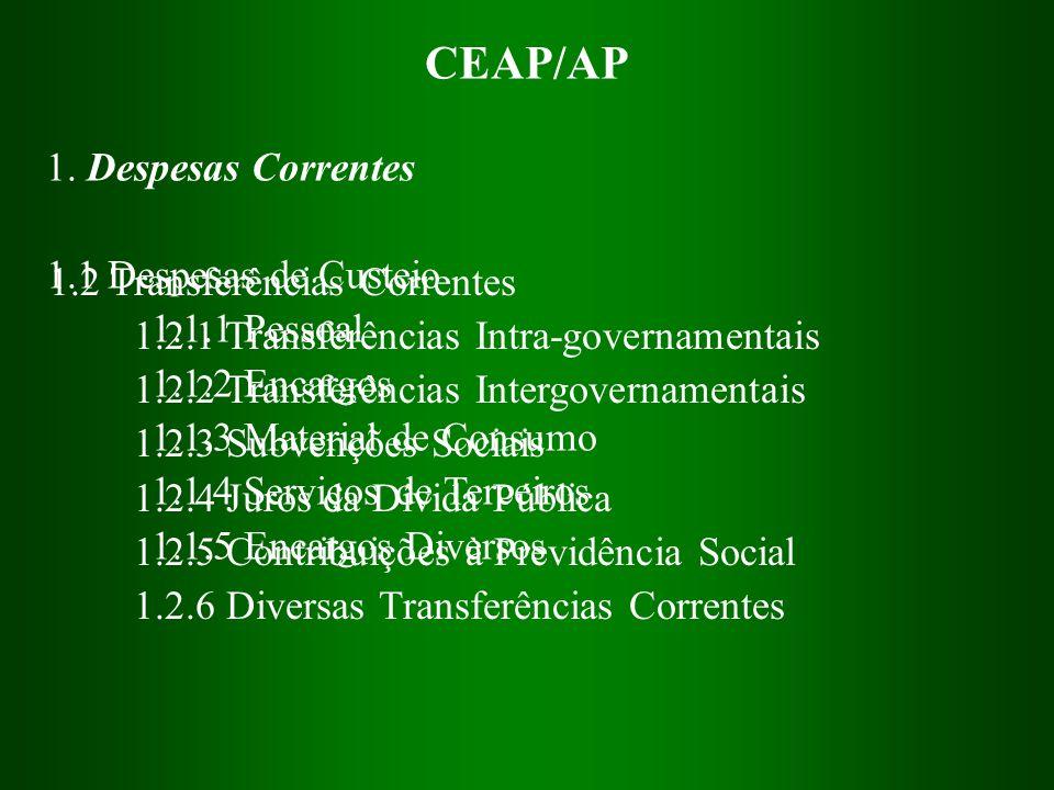 CEAP/AP 1. Despesas Correntes 1.1 Despesas de Custeio 1.1.1 Pessoal