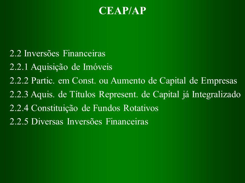 CEAP/AP 2.2 Inversões Financeiras 2.2.1 Aquisição de Imóveis