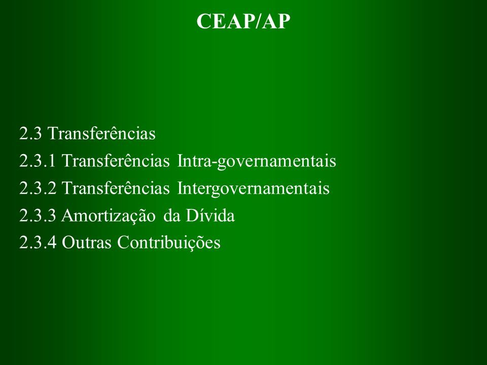 CEAP/AP 2.3 Transferências 2.3.1 Transferências Intra-governamentais