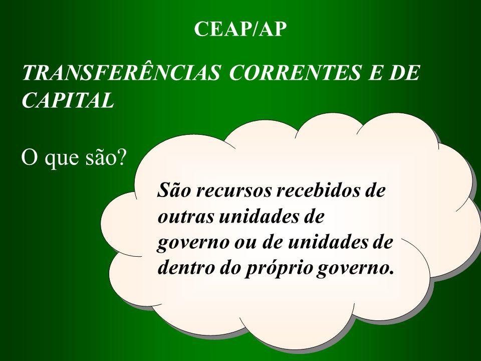 O que são TRANSFERÊNCIAS CORRENTES E DE CAPITAL CEAP/AP