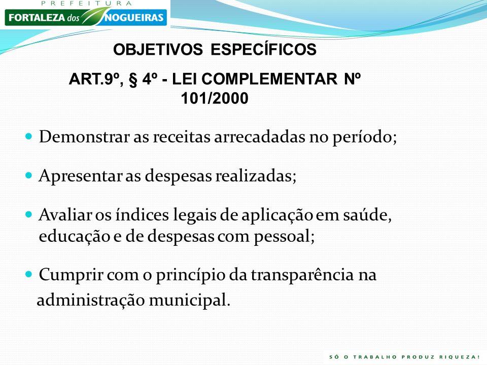 OBJETIVOS ESPECÍFICOS ART.9º, § 4º - LEI COMPLEMENTAR Nº 101/2000