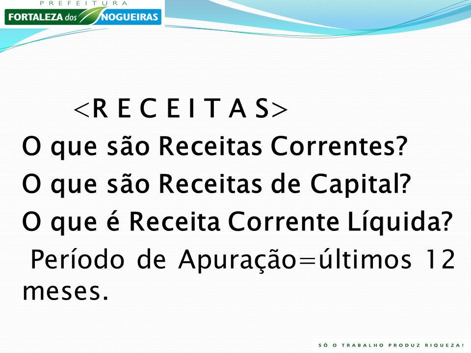<R E C E I T A S> O que são Receitas Correntes O que são Receitas de Capital O que é Receita Corrente Líquida