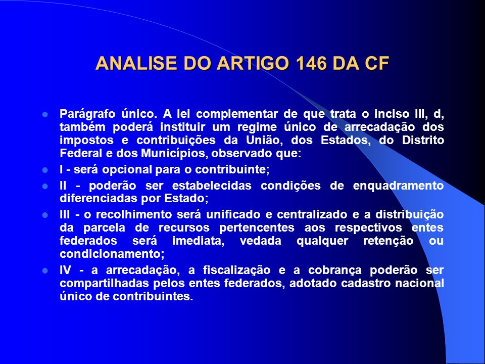 ANALISE DO ARTIGO 146 DA CF