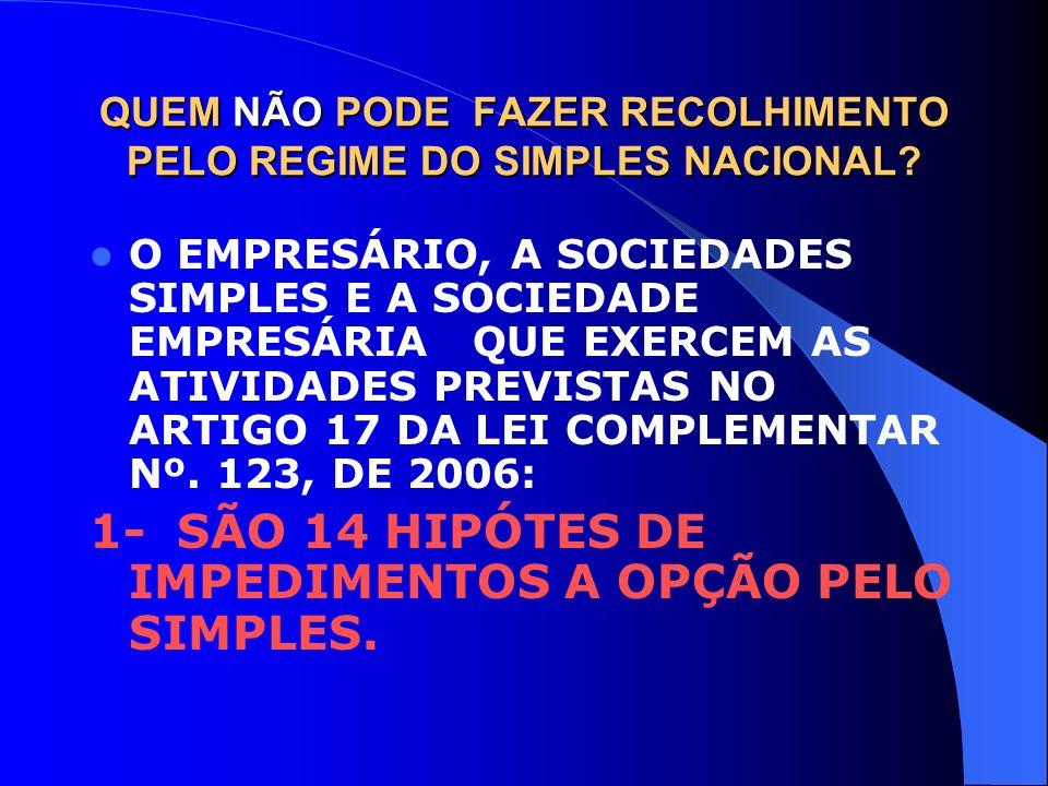 QUEM NÃO PODE FAZER RECOLHIMENTO PELO REGIME DO SIMPLES NACIONAL